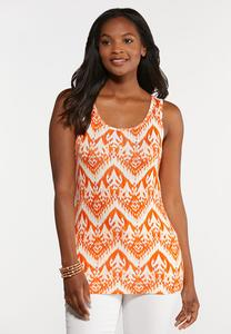 Plus Size Orange Ikat Tank