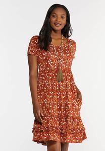 Rust Floral Babydoll Dress