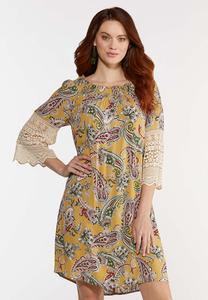 Plus Size Crochet Sleeve Swing Dress