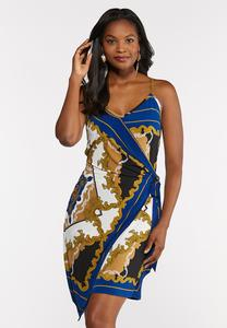 Royal Paisley Wrap Dress