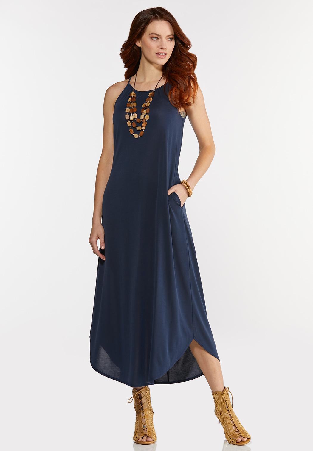 Stretch Navy Midi Dress