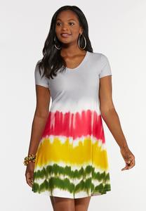 Plus Size Tie Dye Strappy Swing Dress