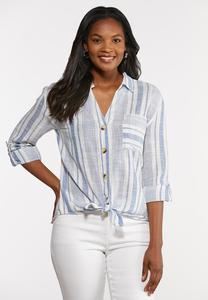 Plus Size Muted Stripe Shirt