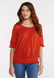 Plus Size Gauzy Smocked Top