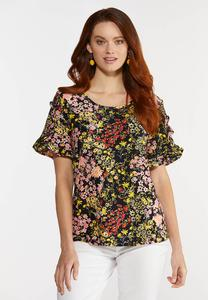 Plus Size Floral Eyelet Top