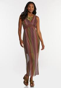 Plus Size Stripe Mesh Maxi Dress