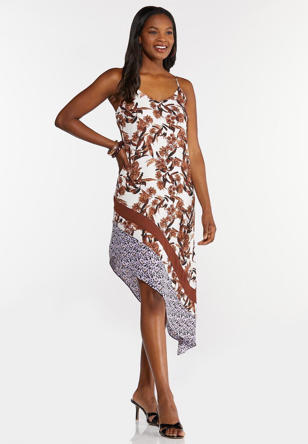 Floral Asymmetrical Slip Dress