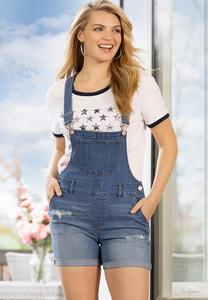 Distressed Denim Short Overalls