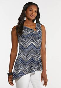 Plus Size Chevron Asymmetrical Tank