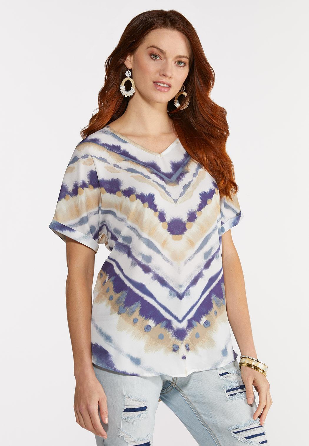 Plus Size Silky Tie Dye Top