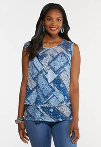 Plus Size Patchwork Mesh Tiered Top