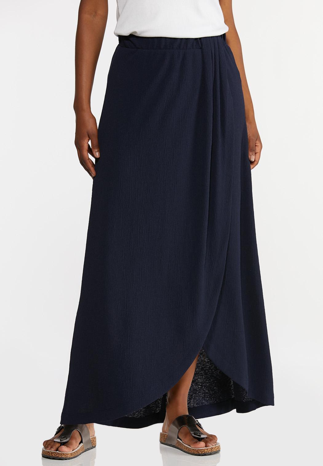 Plus Size Textured Navy Maxi Skirt
