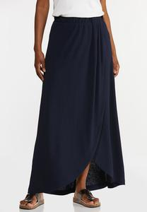 Plus Size Textured Navy Maxi Skirt