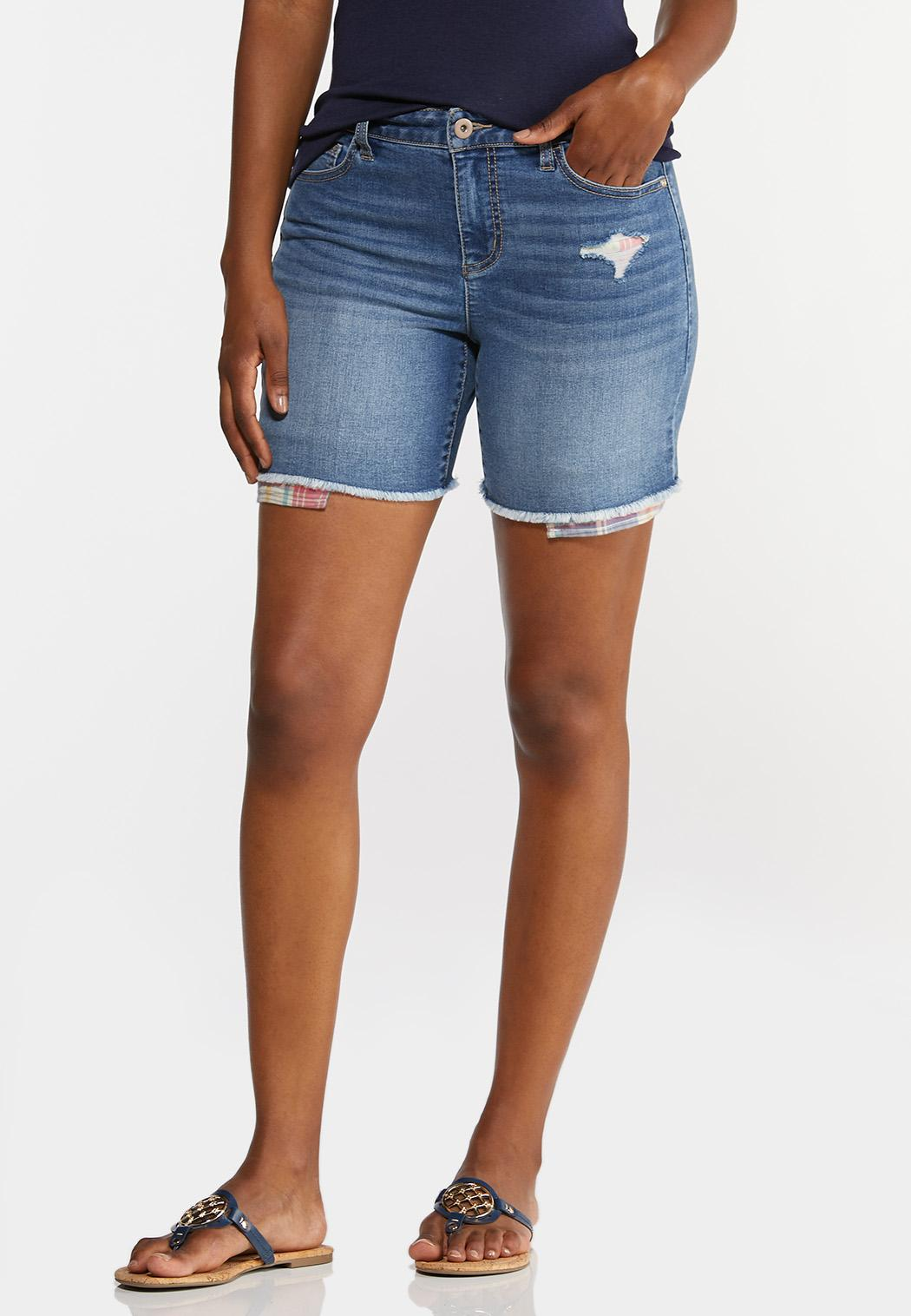Peek-A-Boo Patchwork Denim Shorts