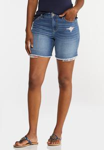 Peek-A-Boo Patchwork Denim Shorts