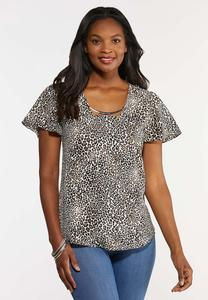 Plus Size Crepe Leopard Top