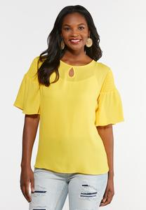 Plus Size Smocked Sleeve Popover Top