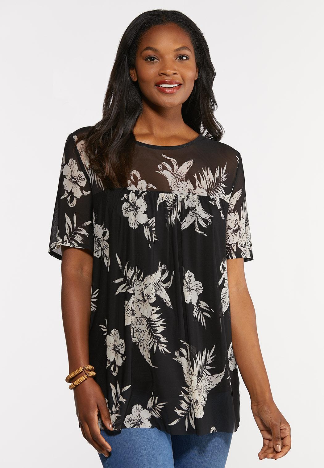 Plus Size Floral Mesh Top
