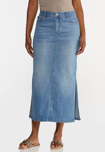 Plus Size Denim Side Slit Maxi Skirt