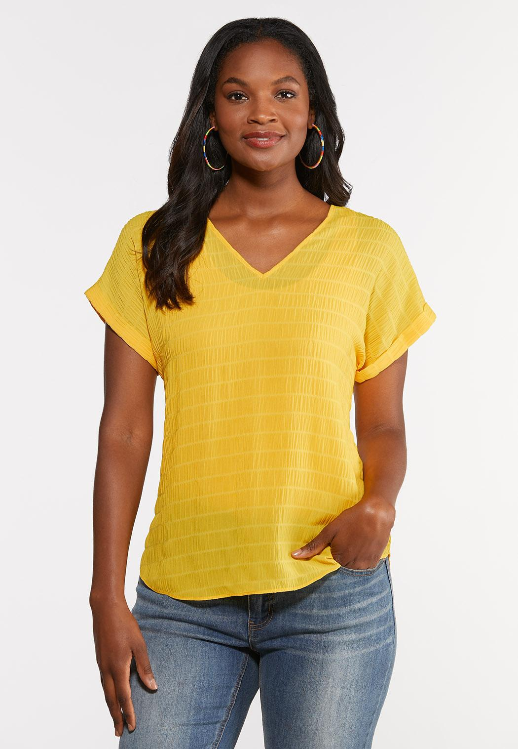 Plus Size Textured V-Neck Top