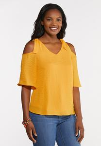 Plus Size Knotted Cold Shoulder Top