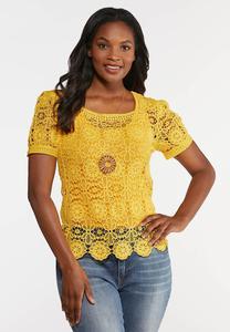 Plus Size Golden Floral Crochet Top