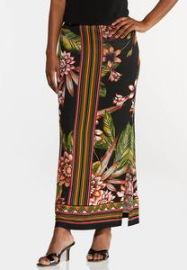 Plus Size Tropical Floral Maxi Skirt