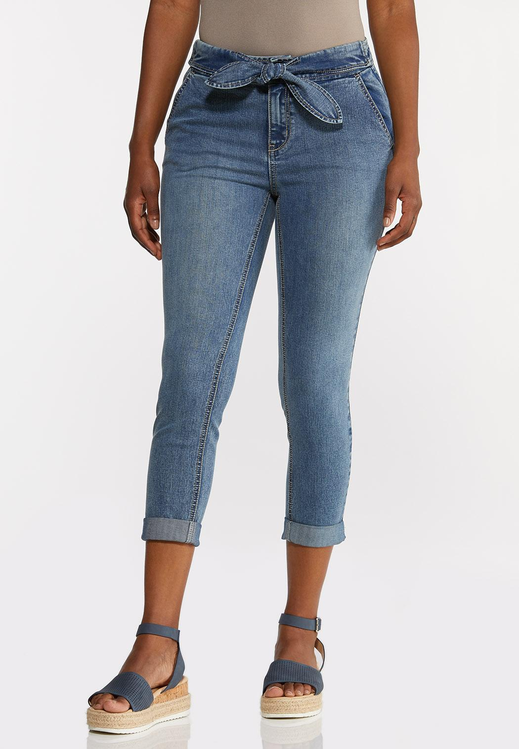 Cropped Tie Waist Jeans