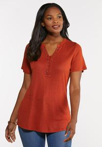Plus Size Lace Up Tee