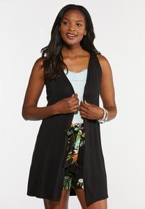 Plus Size Solid Black Vest