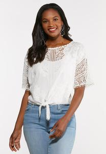 Plus Size Lacy Tie Front Top