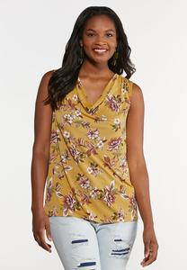 Plus Size Draped Floral Tank