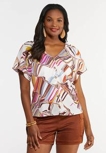 Plus Size Color Swirl Button Front Top