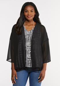 Plus Size Sheer Pleated Back Kimono
