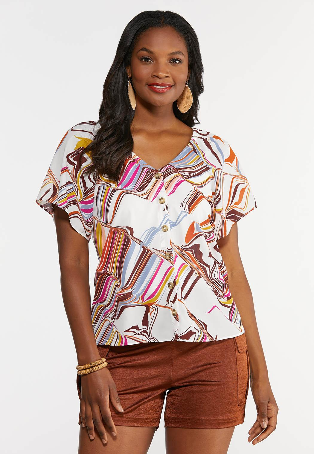 Color Swirl Button Front Top