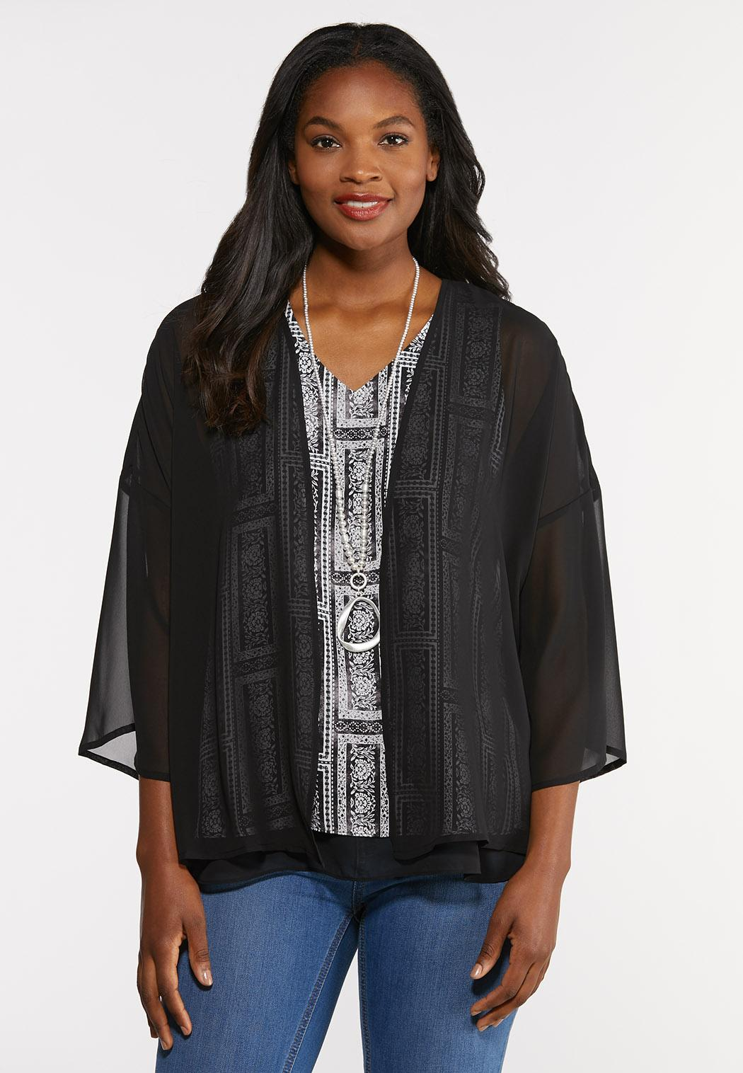 Sheer Pleated Back Kimono