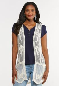 Plus Size Mesh Embroidered Vest