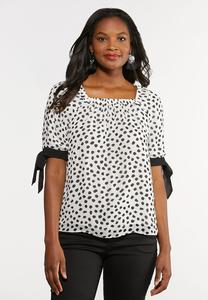 Plus Size Spotted Tie Sleeve Top