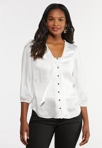 Plus Size Tie Neck Button Down Top