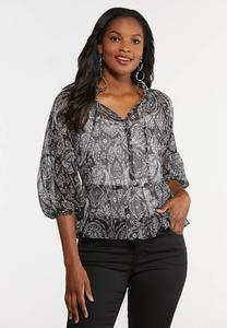 Plus Size Sheer Paisley Poet Top