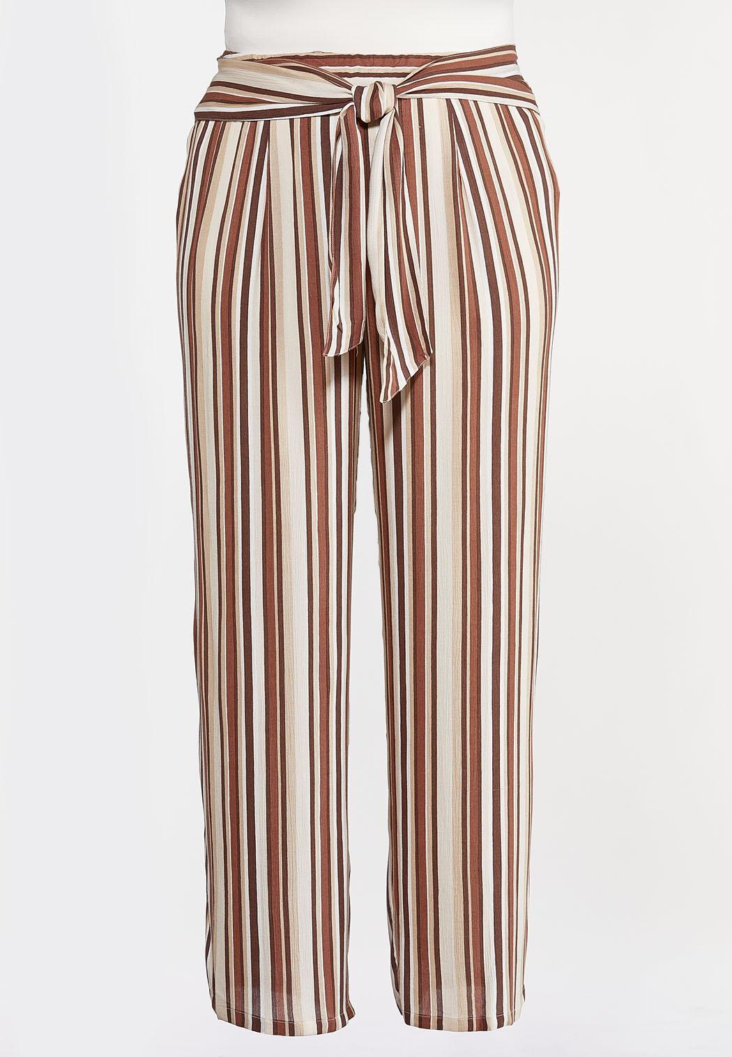 Plus Size Gauzy Tie Waist Stripe Pants