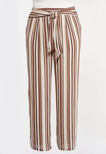 Plus Size Gauzy Tie Waist Stripe Pants