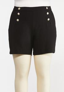 Plus Size Black Sailor Shorts