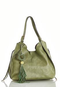 Green Tasseled Hobo Handbag