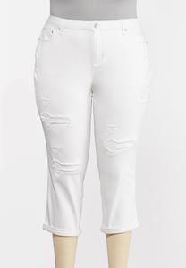 Plus Size Distressed White Cropped Jeans