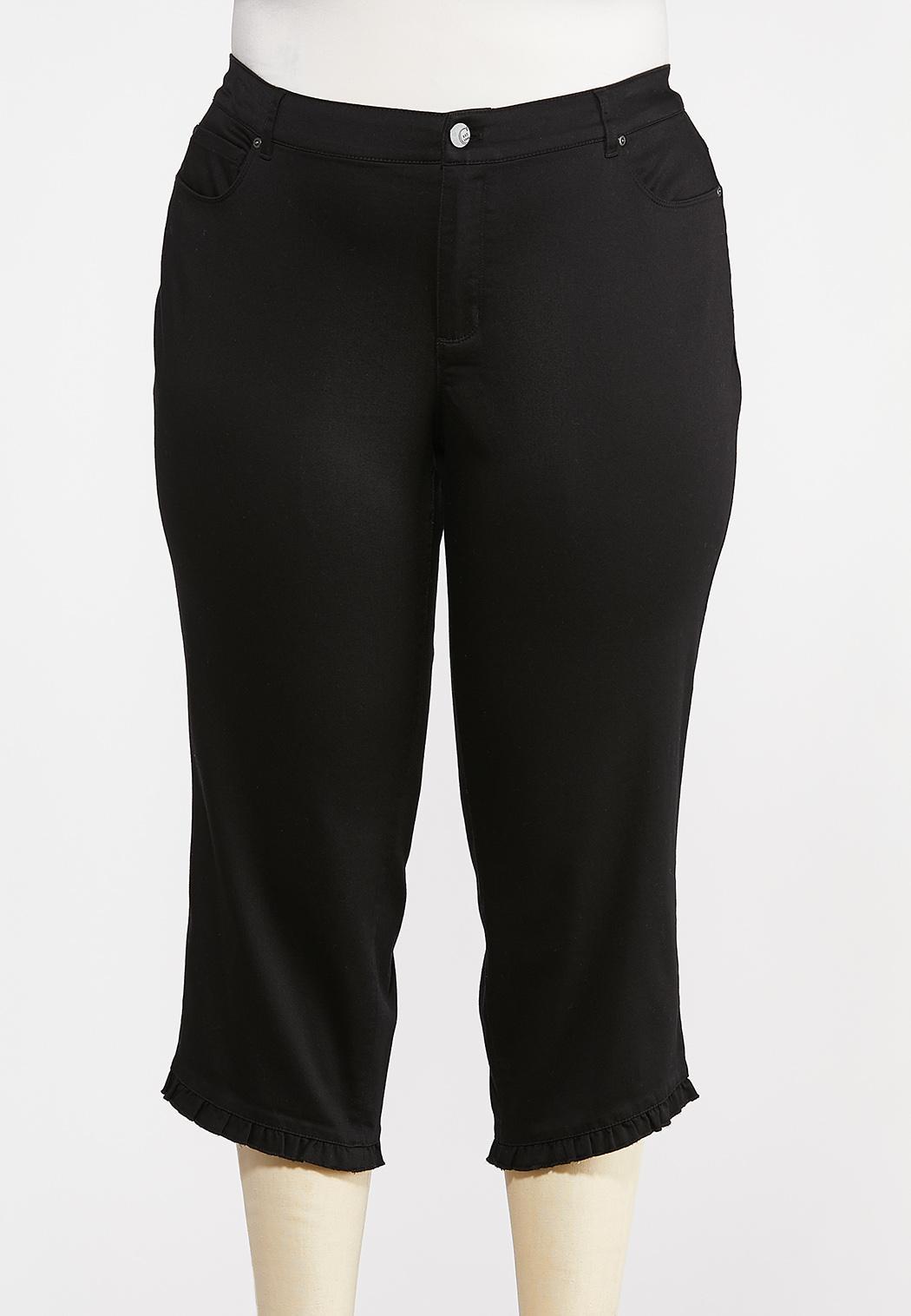 Plus Size Cropped Ruffled Hem Pants