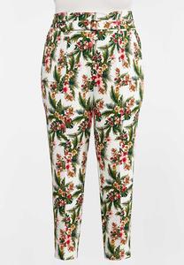 Plus Size Tropical Slim Utility Pants