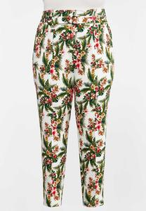 Plus Size Tropical Slim Utility Pants