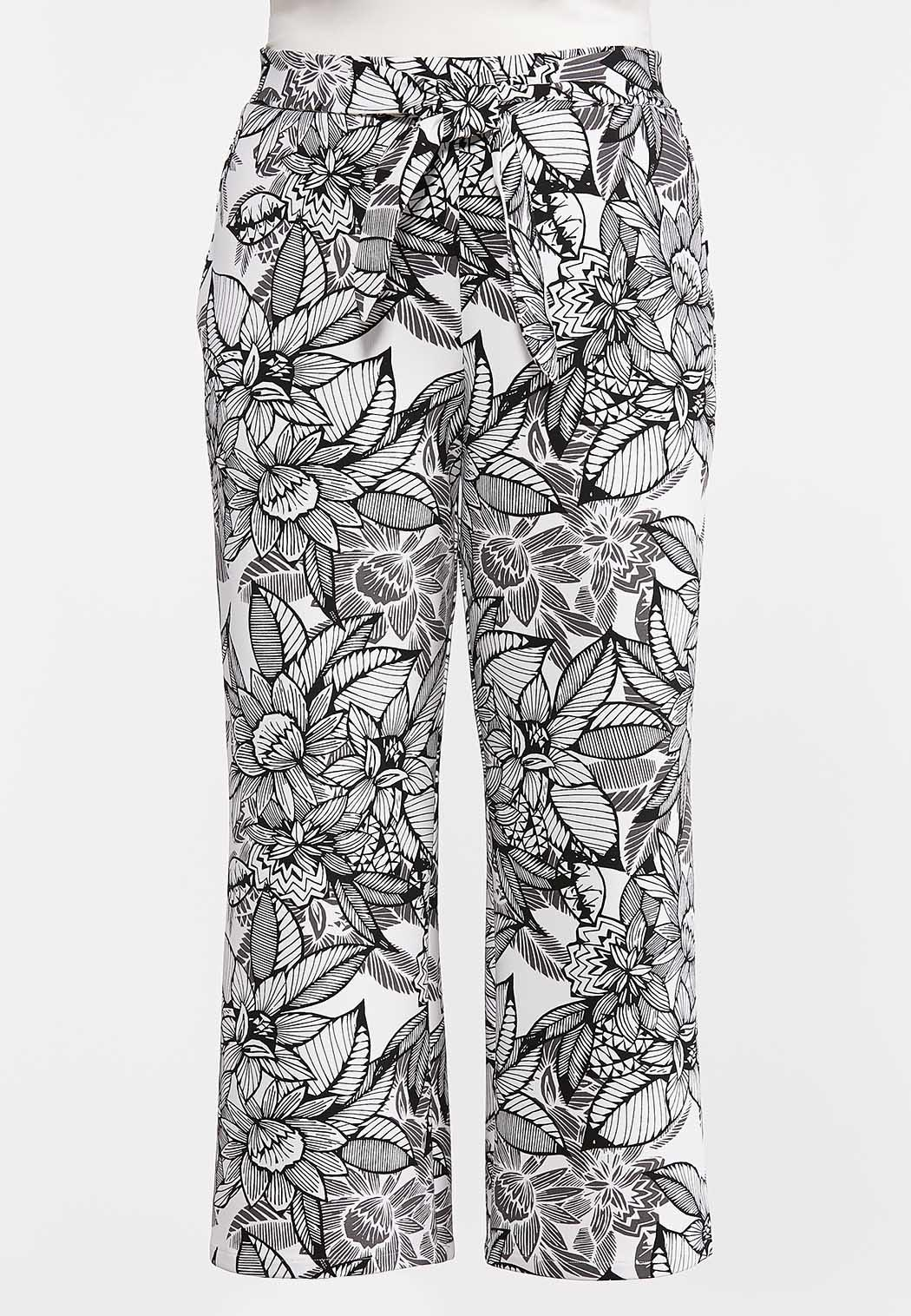 Plus Size Sketch Floral Palazzo Pants