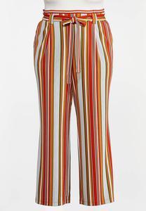 Plus Size Striped Paperbag Palazzo Pants
